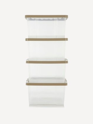 Clear plastic storage tubs stacked on top of each other