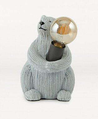 Grey Knitted Bear Table Lamp.