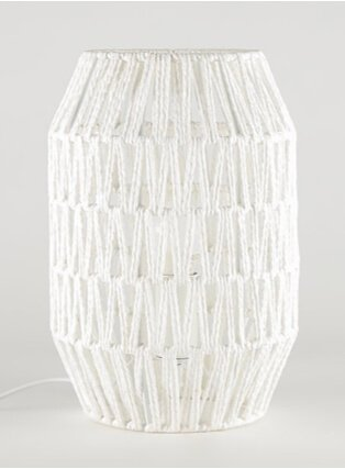 White Rattan Effect Table Lamp.