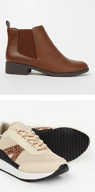 Tan faux leather wide fit Chelsea boot. Cream animal print trainers.
