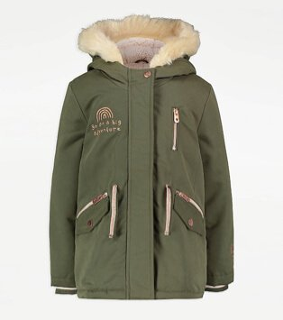 Khaki Hooded Adventure Slogan Parka