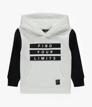 White Panelled Slogan Hoodie