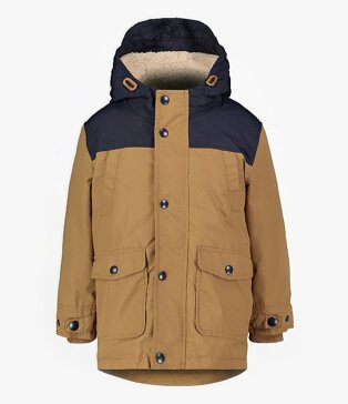 Tan Brown Colour Block 3 in 1 Parka