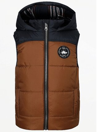 Brown Colour Block Padded Gilet