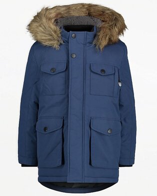 Navy Pocket Detail Padded Parka