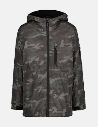 Grey Camo Print Hooded Sports Jacket.