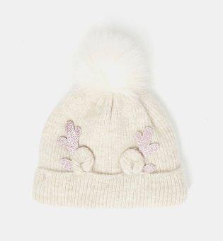 Cream Ribbed Reindeer Antler Bobble Hat.