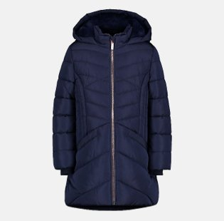 Navy Hooded Longline Chevron Quilted Coat.