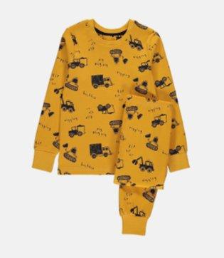 Yellow Digger Print Pyjamas and Pyjama Case Gift Set.