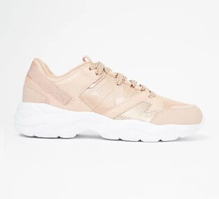 Pale peach trainers with white sole.