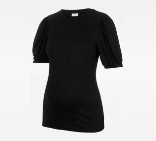 Pieces Maternity Black Ribbed Short Sleeve Top.