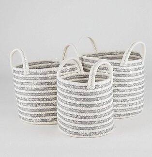 Grey and white striped storage baskets