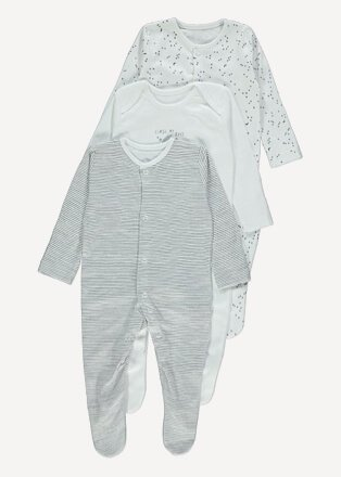 Product shot of three grey patterened sleepsuits, including one striped and one moon & stars