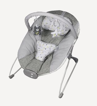 Product shot of a grey and white baby bouncer with yellow accents