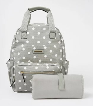 Grey Polka Dot Baby Changing Backpack.