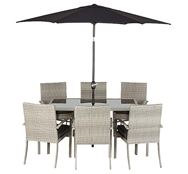 This patio set has everything you need to create a great outdoor area for dining, entertaining or relaxing