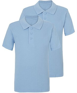 Two light blue school polo shirts