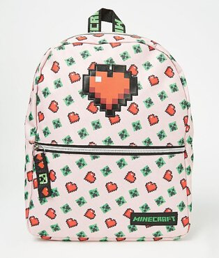 Minecraft multicoloured pink rucksack
