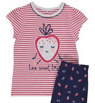 Pink and white striped t-shirt with a strawberry on with matching navy leggings