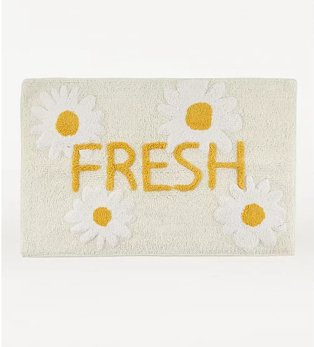 Yellow daisy fresh slogan bath mat.