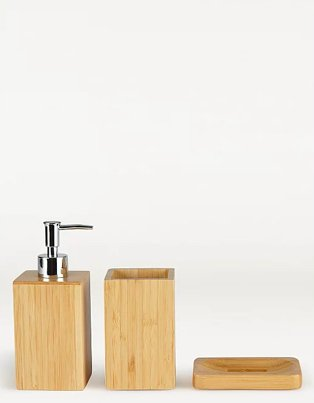 Bamboo bathroom accessories range.