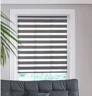 White window frame with slate grey night and day rollerblind.