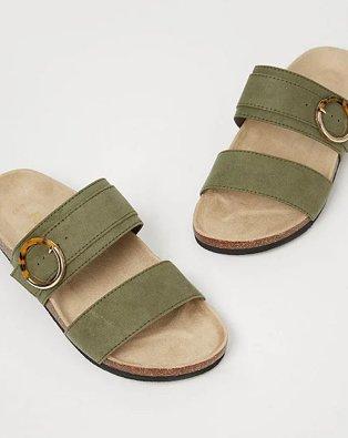 Khaki tortoise shell buckle detail slip on sandals.