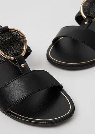 Black gold-tone ring detail sandals.