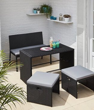 Black wicker-effect orlando multifunctional 4 piece garden patio set.