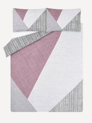 Double bed sheet in pink, grey and white pattern