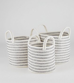 Three wicket baskets in white and grey stripe