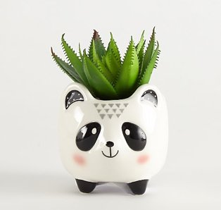 Small Panda plant pot with green artificial plant inside
