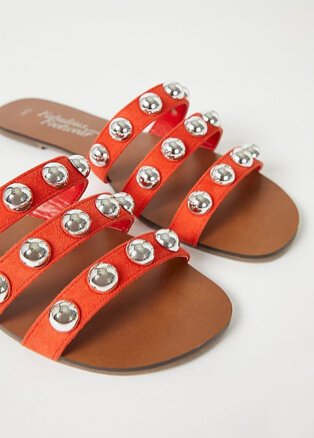 Orange studded strappy pool sliders