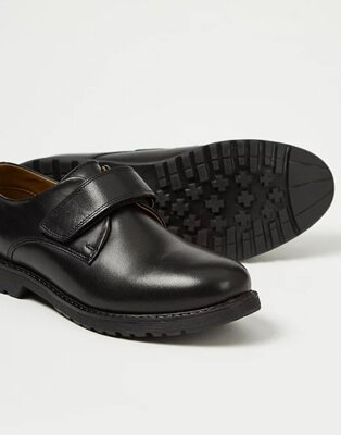Close up shot of boys black school shoes