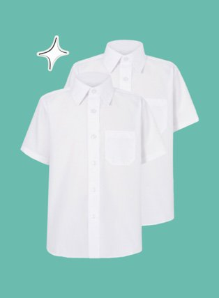 Pack of 2 white short sleeve shirts.