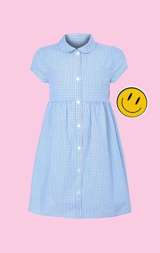 Girls blue gingham curved waist school dress.