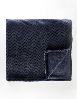Navy chevron textured super soft extra-large blanket.