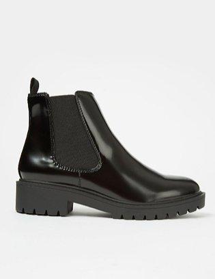 Black Patent Chelsea Boots.