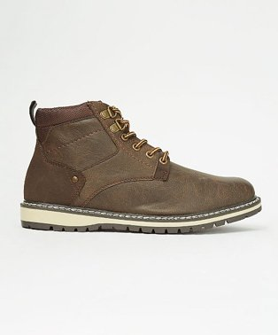Dark Brown Aged Effect Hiker Ankle Boots.
