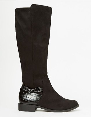 Black Suede Effect Stretch Panel Knee Boots.