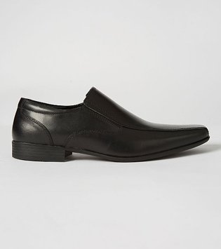 Black Leather Slip On Formal Shoes.