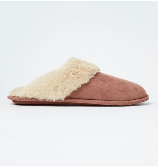 Plum Suede Effect Faux Fur Trim Mule Slippers.