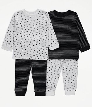 White Star Print Long Sleeve Pyjamas 2 Pack.