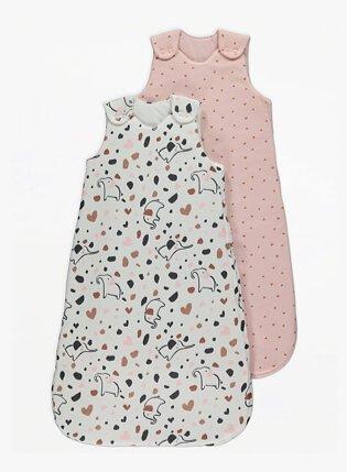 Pink Elephant Print 2.5 Tog Sleeping Bags 2 Pack.