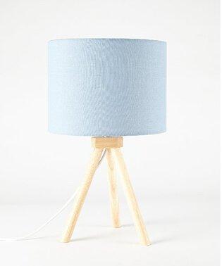 Blue Wooden Tripod Table Lamp.