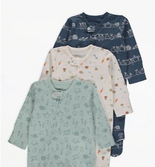 Mint Garden Print Sleepsuits 3 Pack.