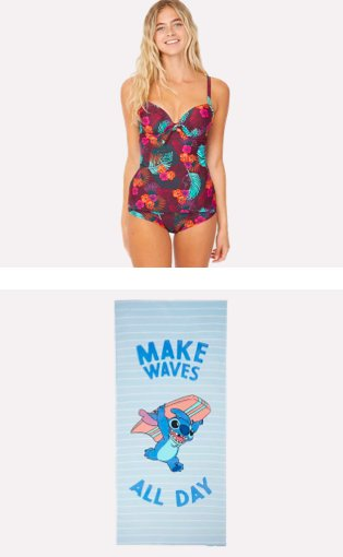 Woman poses wearing red floral swimsuit. Blue Stitch make waves all day beach towel.