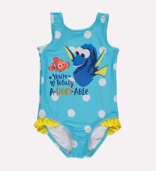 Blue Disney Pixar Finding Dory slogan swimsuit.