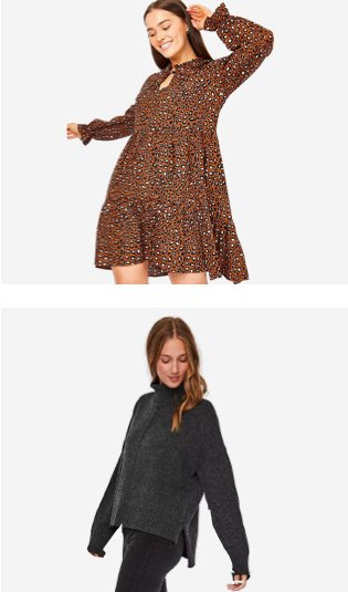 Woman poses smiling with hand in the air wearing brown animal print tiered dress. Woman poses looking down wearing NOISY MAY dark grey knit roll neck jumper and black jeans.