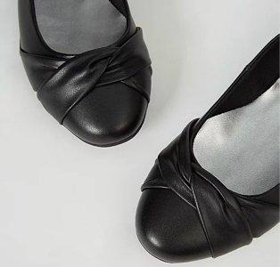 Wide fit black soft sole ballet shoes.